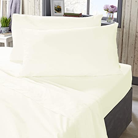 The Bed Linen Store - Sábana encimera (100% algodón, 180 hilos, percal, 5 colores disponibles), algodón, crema, Doublé: Amazon.es: Hogar