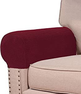Stretch Armrest Covers for Chairs and Sofas Couch Arm Covers for Sofa Spandex Jacquard Armrest Covers Anti-Slip Furniture Protector Washable Armchair Slipcovers for Recliner Set of 2, Burgundy