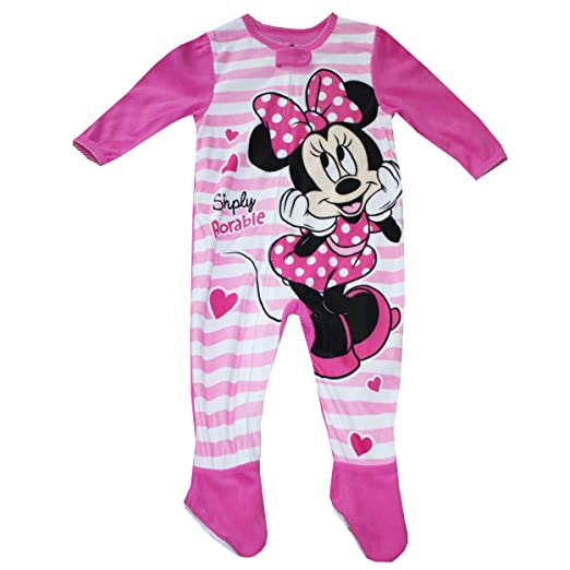 41f84a721 Image Unavailable. Image not available for. Color: Disney Minnie Mouse  Fleece Footed Sleeper Pajama Baby Girls ...