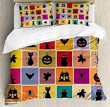 Vintage Halloween juego de funda nórdica por Ambesonne gatos de murciélagos, fantasmas de búhos casas en ...
