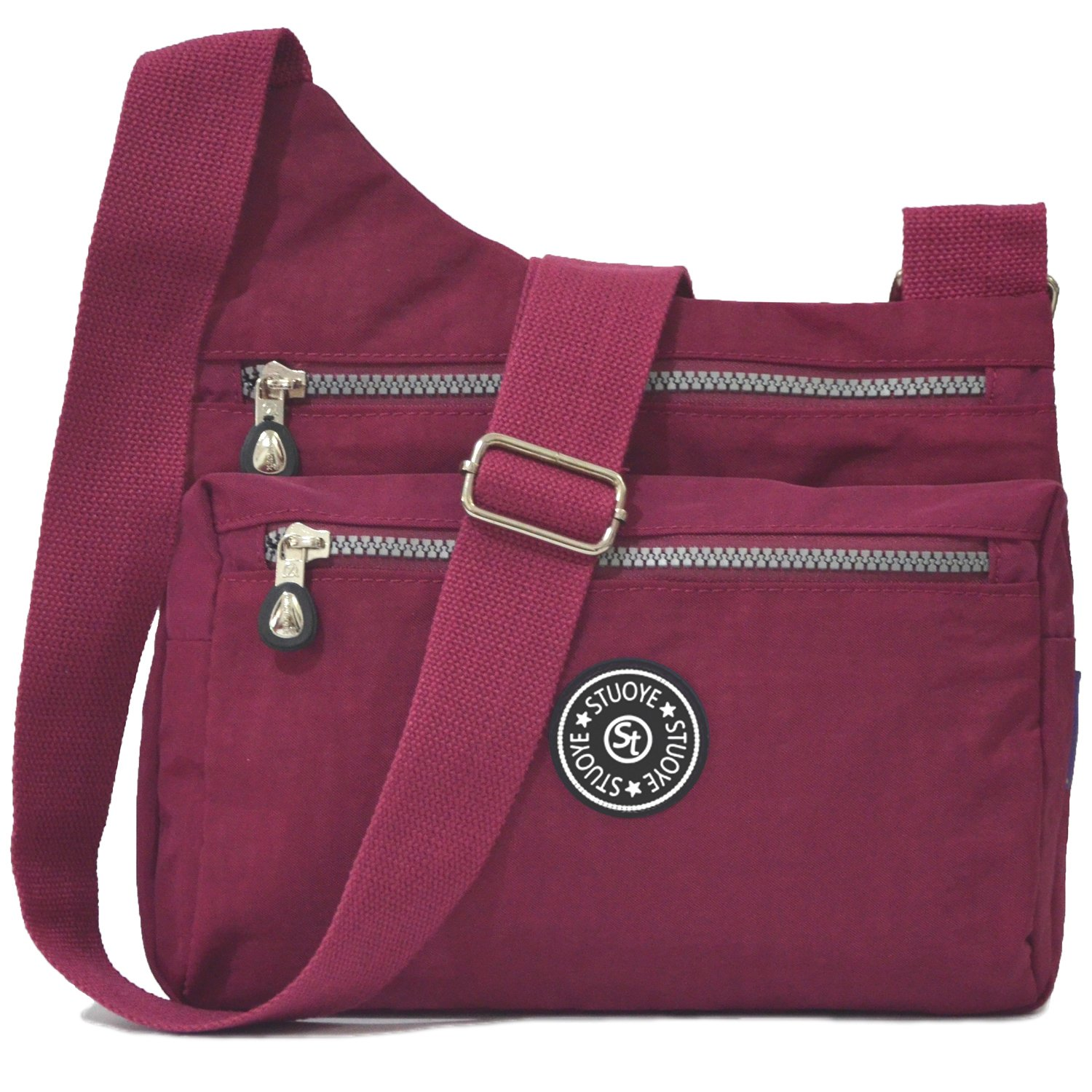 STUOYE Nylon Multi-Pocket Crossbody Purse Bags for Women Travel Shoulder Bag (Z187 Wine Red) by STUOYE