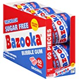 Bazooka Sugar Free Bubble Gum - 60 Count To Go Cup (Pack of 6) Pink Chewing Gum in Original Sugarless Flavor - Fun Old Fashio