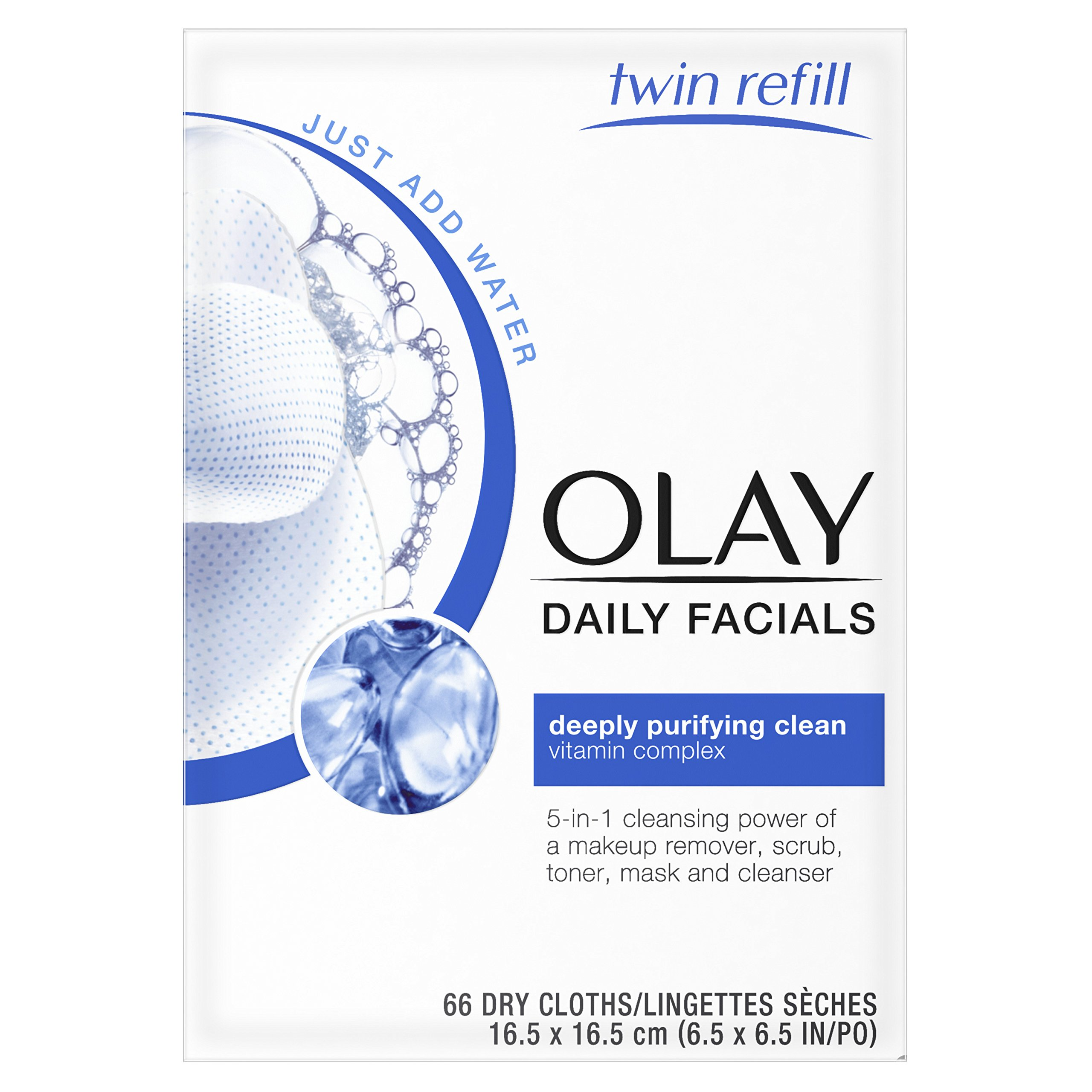 Olay Daily Facials, deeply purifying clean & 5-in-1 Cleansing power of a makeup remover, scrub, toner, mask and cleanser 66 Dry Cloths by Olay