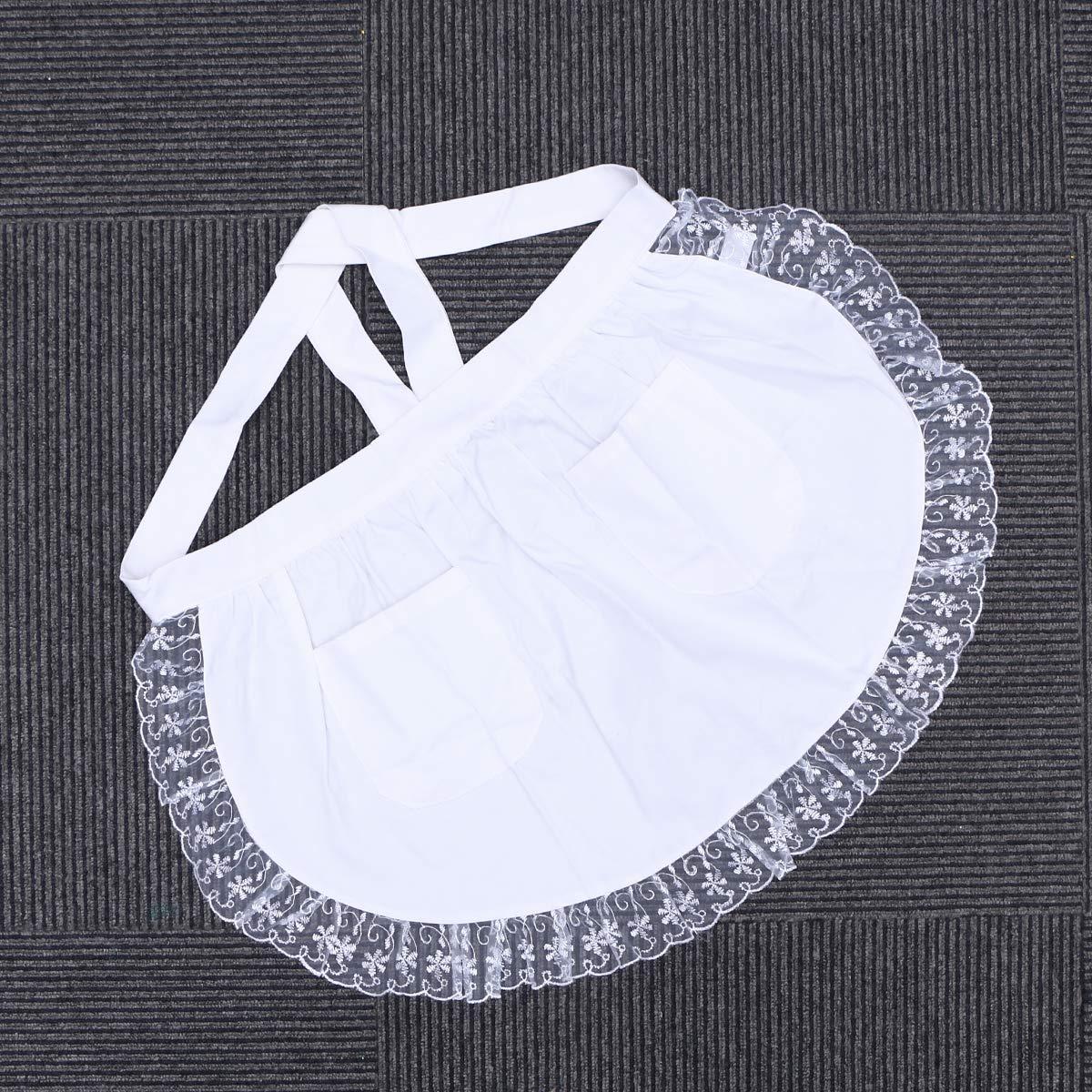 bianco BESTONZON Grembiule vita donna con tasche in pizzo di cotone mezzo grembiule da cucina festa favori per cameriera cameriera cameriera