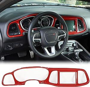 JeCar Center Console Dashboard Panel Trim Interior Decoration Accessories for Dodge Challenger 2015-2019, Red