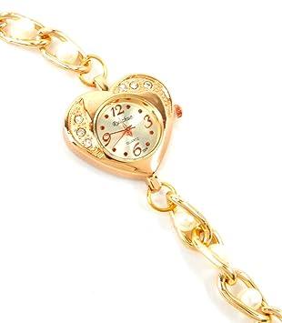 Mujer Relojes de oro wickel de pulsera de reloj blancas perlas pulsera de oro elegante moderna Mujer Reloj Mantita Reloj de pulsera 5255: Amazon.es: Salud y ...