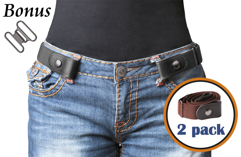No Buckle Belt For Women/Men Buckle Free Belt Plus Size for Jeans Pants 2 Pack (Pants Size 34''-48'', 01-Black+Coffee)