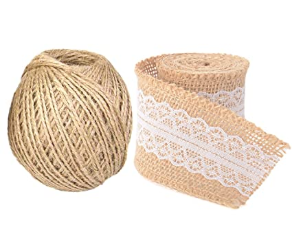 TIED RIBBONS Twisted Burlap Jute Rope and Beautiful Burlap Ribbon with  White Net for Art and Craft Decoration(Brown)
