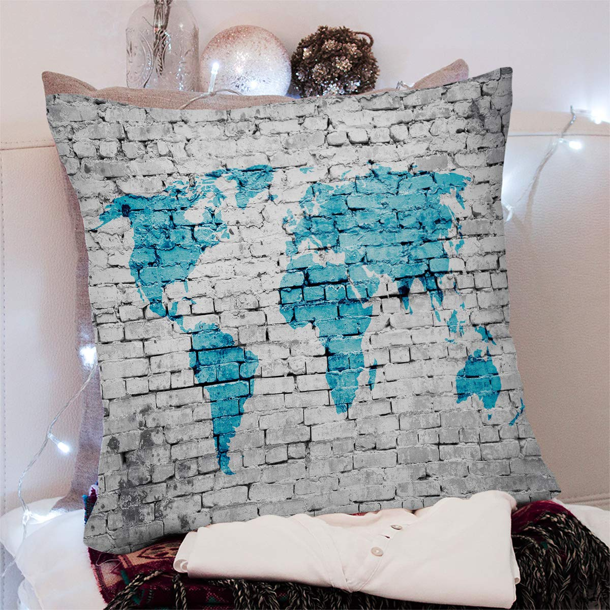 Square Throw Pillow Cover with Zipper for Girl//Boy//Kid//Couple//Couch//Chair//Bed//Dining//Living Room White Brick Wall Blue World Map Decorative Soft Short Plush Cushion Cover Pillow Case 20x20in