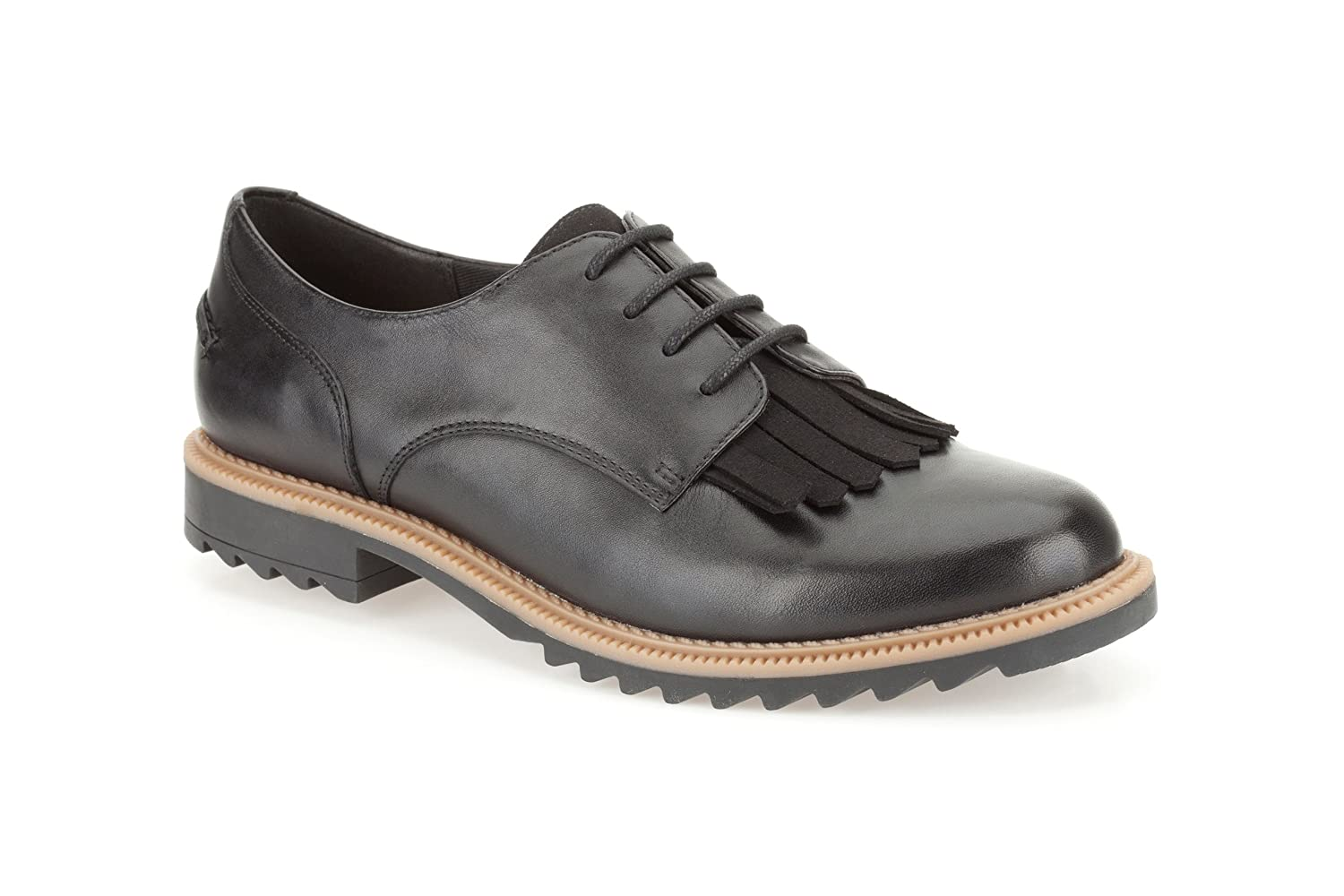 Clarks Damen Griffin Mabel Brogue Schnuuml;rhalbschuhe7 UK E|Black