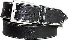 Eg-Fashion Herren Gürtel 5 cm breiter Hand Made Jeans Gürtel aus 100% Büffelleder - Gürtel mit Steppnaht am Rand