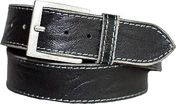 Eg-Fashion Herren Gürtel 5 cm breiter Jeans Gürtel aus 100% Büffel-Vollleder - Gürtel mit Steppnaht am Rand