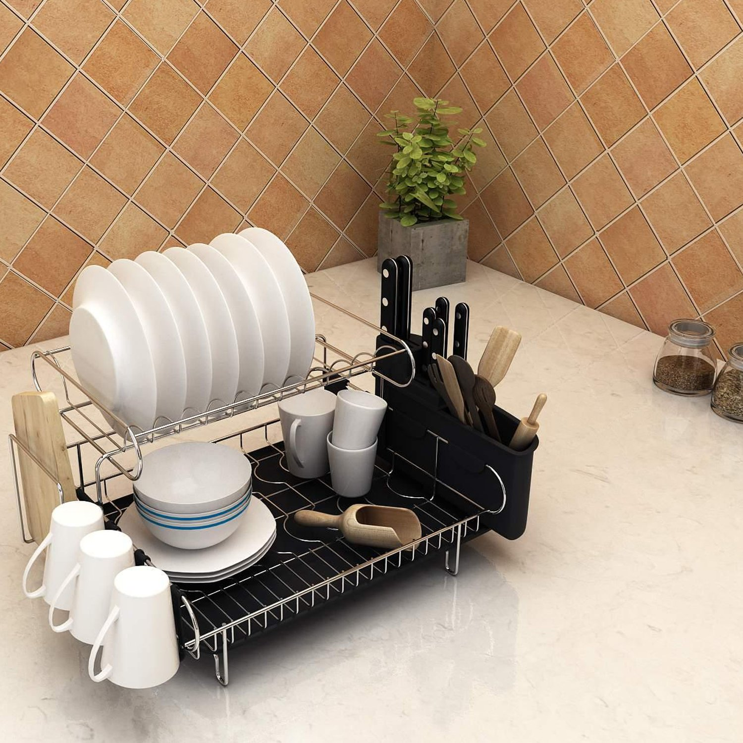 Mewalker 2 Tier Dish Drying Rack 304 Stainless Steel Professional Dish Rack with Microfiber Mat Drain Board and Cutlery Holder, Black by Mewalker (Image #7)