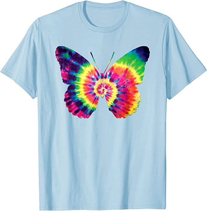 c77c386f9588 Amazon.com  Mens Rainbow Tie Dye Butterfly Neon Tye Die Look Cool T-Shirt  2XL Baby Blue  Clothing
