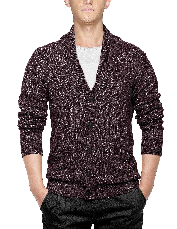 Match Men's Sweater Series Shawl Collar Cardigan(US M (Tag Size XL), 1611 Claret)