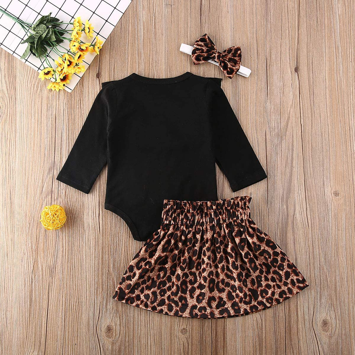 Tutu Skirt Newborn Baby Girls Leopard Outfit Ruffle Long Sleeve Bodysuit Headband Princess Dress Set of 3