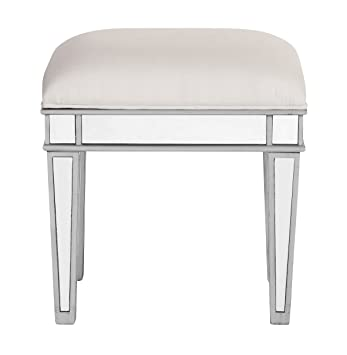 Superieur Modern Style Beveled Mirrored Stool Chair In Silver Finish 18 In. X 14 In.