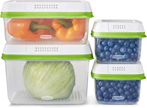 Rubbermaid FreshWorks Produce Saver, Medium and Large Storage Containers, 8-Piece Set, Clear
