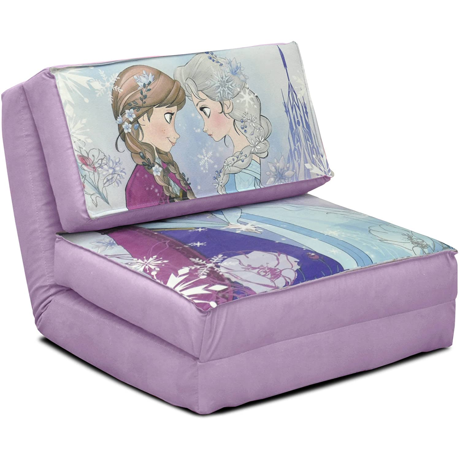 Amazon.com: Disney Frozen Anna And Elsa Flip Chair Tween Sofa Kids Room  Furniture Home New Girls Bedroom Bed Seat, Chair Easily Converts Into A  Bed, ...
