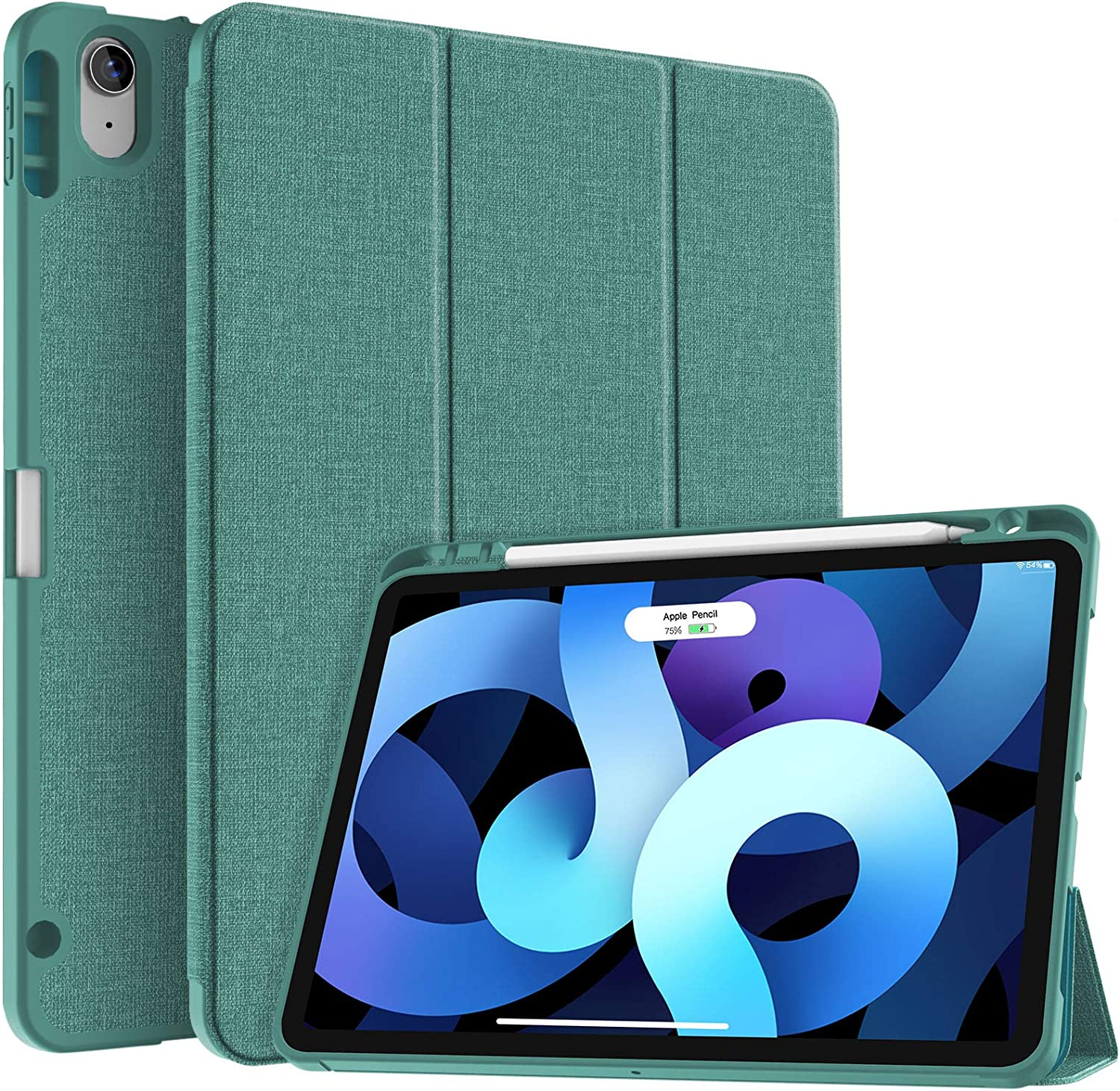 Soke iPad Air 4 Case 10.9 Inch 2020 with Pencil Holder - [Full Body Protection + Apple Pencil Charging], Soft TPU Back Cover for 2020 New iPad Air 4th Generation,Lake Blue