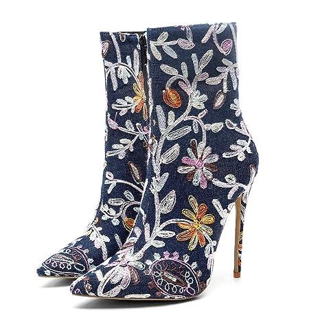 Hy Botas de Moda para Mujer, Botines de tacón súper Alto con Superficie de Tela