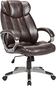 AC Pacific Modern Gas Lifted PU Leather Upholstered Adjustable Swivel Office Chair with Thick Padded Seat and Caster Wheels, Brown