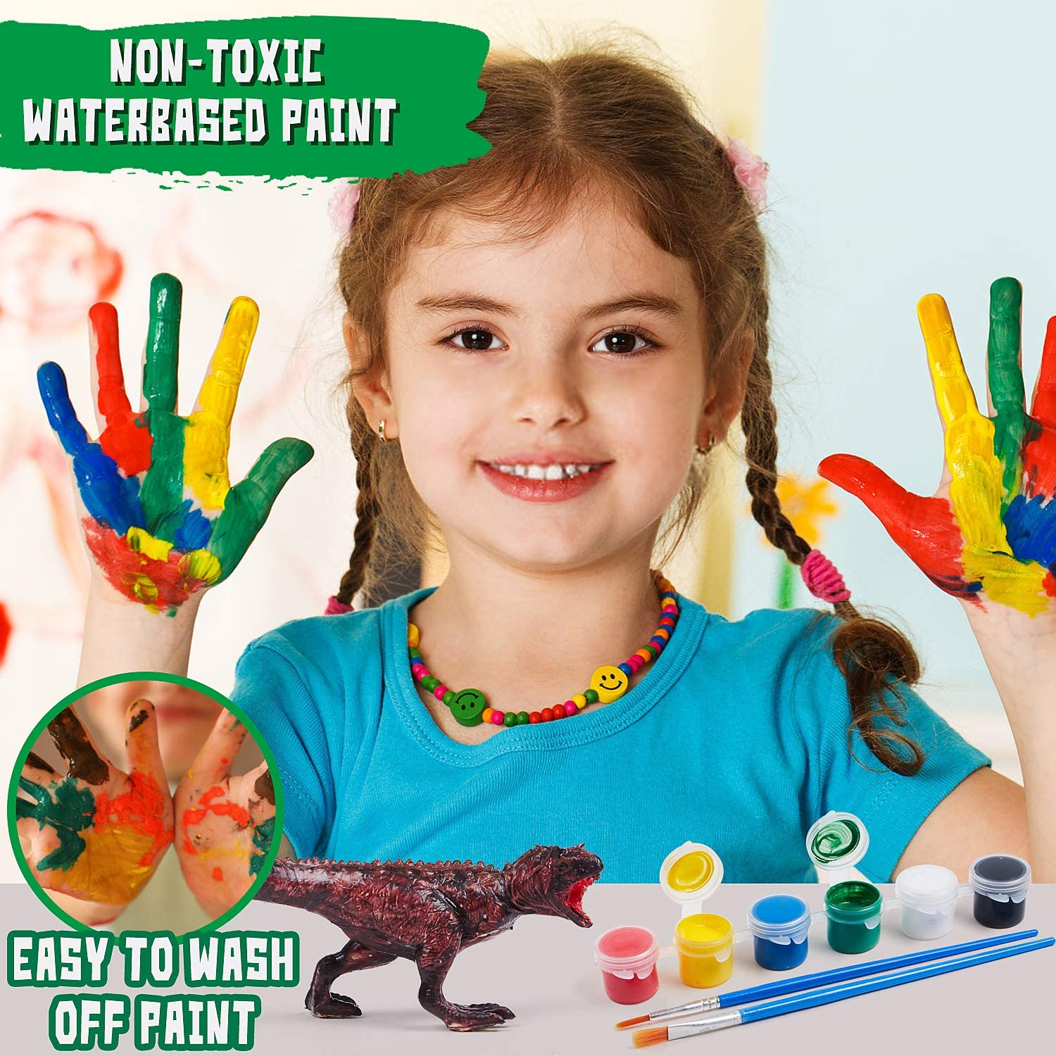 Toyssa 3D Painting Dinosaurs DIY Dinosaur Arts and Crafts Decorate Your Own Dinosaur Figurines with Play Mat for Kids Boys Girls
