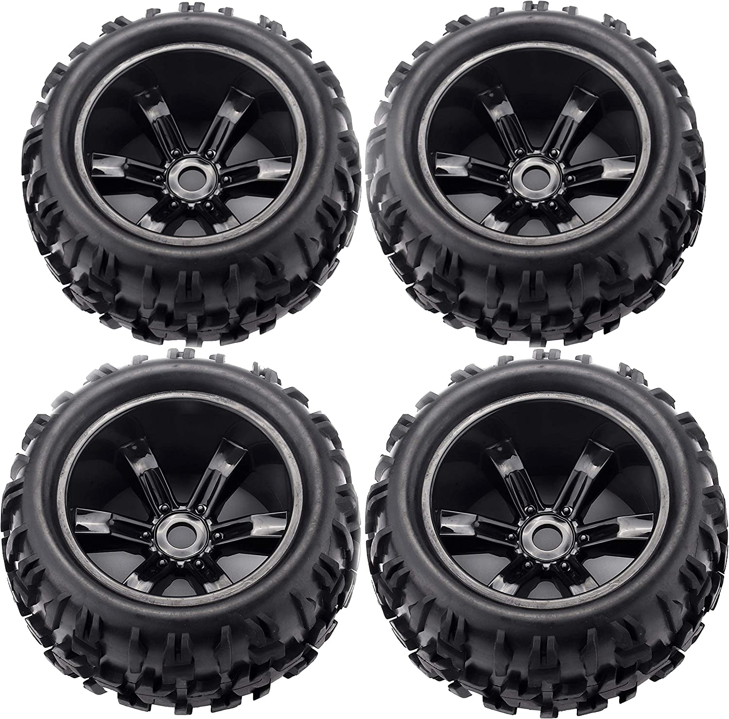 4Pcs 17mm Hex Rubber Tires/&Wheel Rim For HPI HSP 1:8 Scale On-Road RC Buggy Car