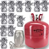 """Helium Tank + 12 Balloon Weights, 5.5"""", 5.7 oz + White Curling Ribbon 