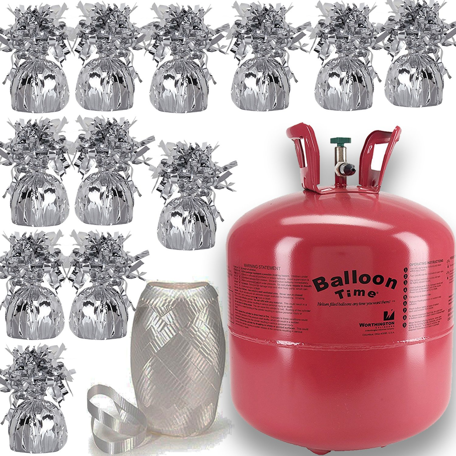 Helium Tank + 12 Balloon Weights, 5.5