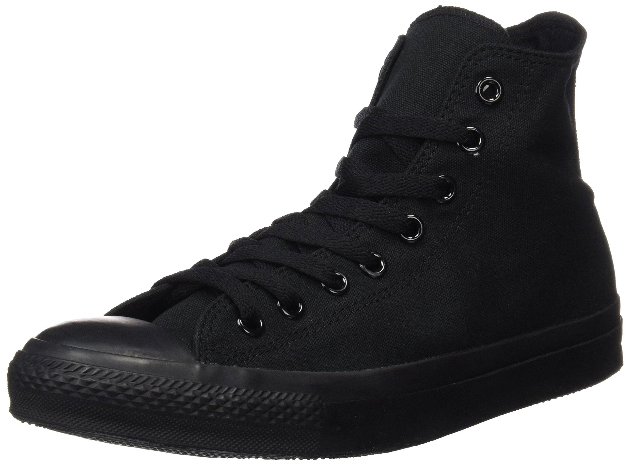 Converse Chuck Taylor All Star Canvas High Top Sneaker, Black Monochrome, 15 US Men/17 US Women