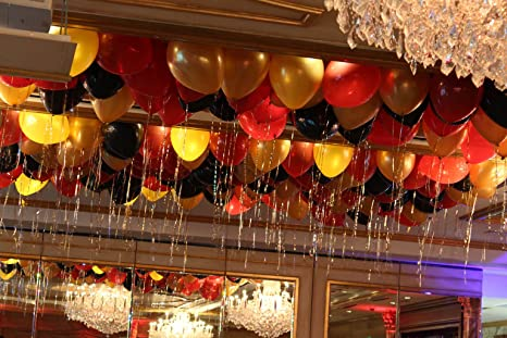 Themez Only Metallic Hd Latex Balloons Gold Red And Black Amazon