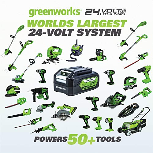 Greenworks 24V Axial Blower 90 MPH 320 CFM , 2Ah USB Battery USB Hub and Charger Included BL24B212