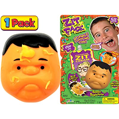 JA-RU Zit Face Pimple Popping (Pack of 1) Joke Pop It Toy Squeeze Acne Funny Toys Pimple Popping Stress Toy, Gag Gifts Peach Pus Popper Toy Remover. Stop Picking Your Face Gross Gifts 4450-1A: Toys & Games