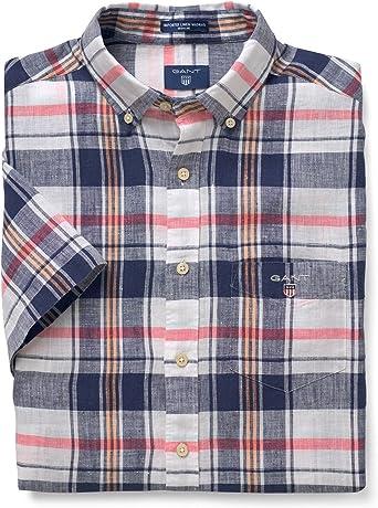 GANT Short Sleeved Popover Linen Madras Shirt Camisa, Azul ...