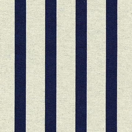 Tessuto A Righe Blu Marino Su Sfondo Colore Lino Altezza 155 Cm