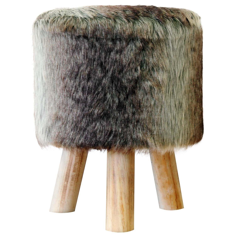 Badhocker design holz  Fellhocker Hocker Sitzhocker Shemel Fußhocker Holz Felloptik Stuhl ...
