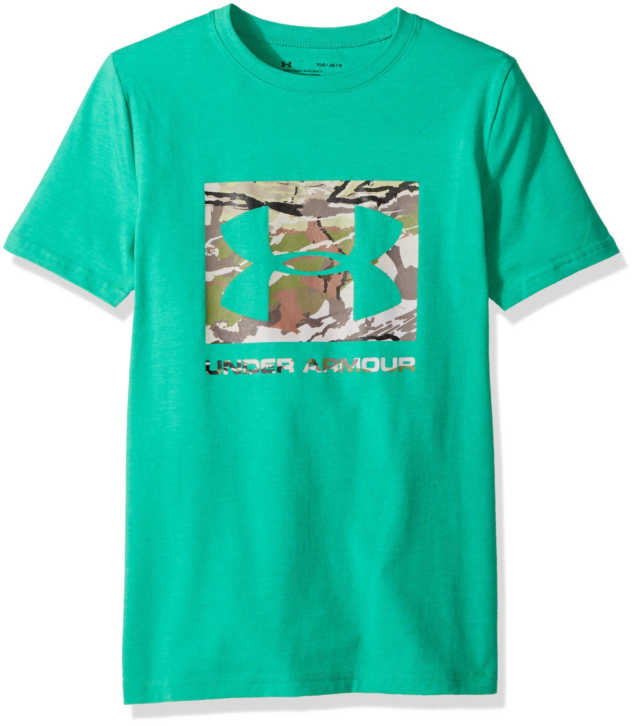 Under Armour Boys' Camo Fill T-Shirt,Glass Green Medium H, Youth Small