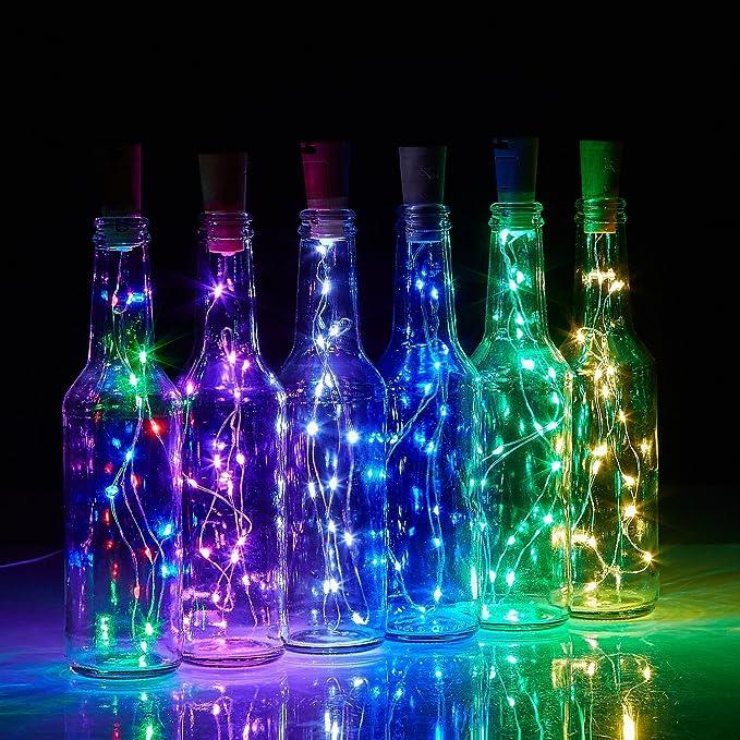 Tesan Luz, de botellas de vino botella corcho Luz, 2 metros 20 ledes LED Luz nocturna Botella de vino, bodas y fiestas romántica Deko, 7 colores, ...