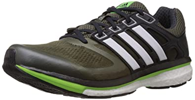 on sale 91b7e 153d9 Adidas Men s SUPERNOVA GLIDE 6 M Dark Green, White and Neon Green Mesh Running  Shoes