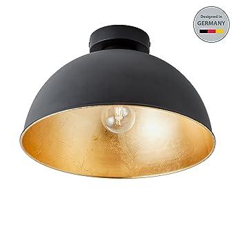 BKLicht Design Industrielle Vintage LED Deckenleuchte 30cm Exkl E27 Leuchtmittel Schwarz Fr