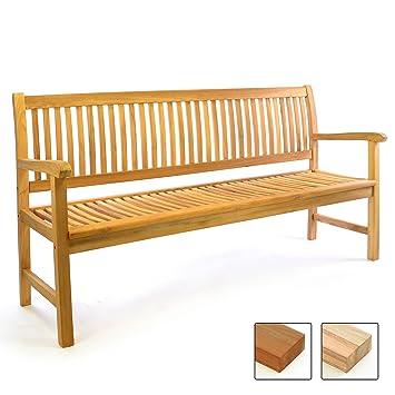 Divero 3 Sitzer Bank Holzbank Gartenbank Sitzbank 180 Cm Zertifiziertes Teak Holz Unbehandelt