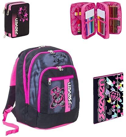 comprare on line b6c33 6ff8e Seven Zaino Scuola Advanced Color Girl Nero + Astuccio + Cartellina A4