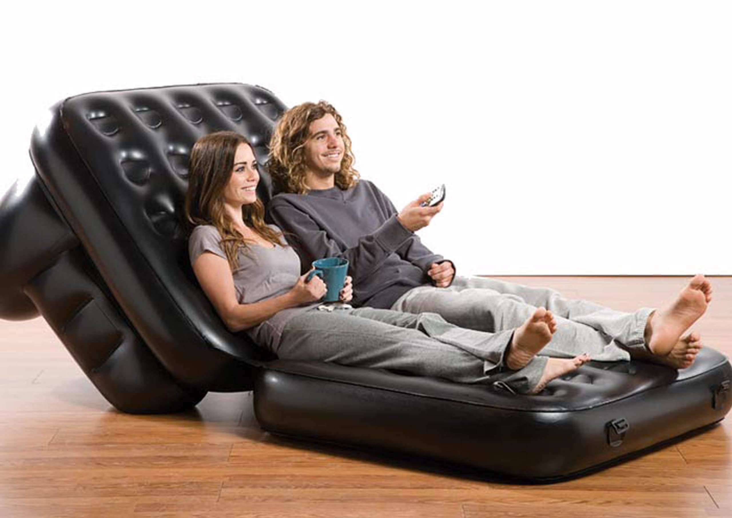 Pure Comfort 5 in 1 Inflatable Chair Bed (Black, Twin Size)