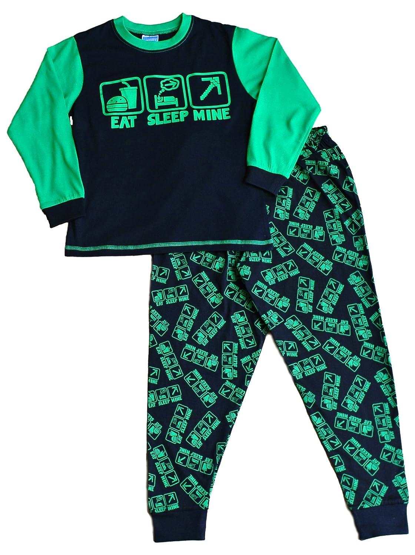 Boy's Eat Sleep Mine Pyjamas Fantastic Computer Game Style All Over Print 7 to 14 Years