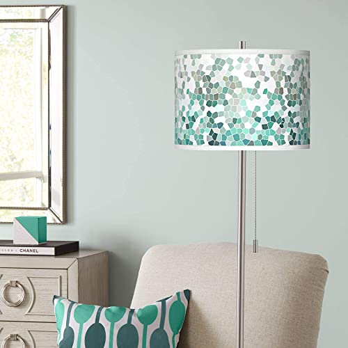 Modern Floor Lamp Brushed Nickel Aqua Mosaic Pattern Giclee Drum Shade
