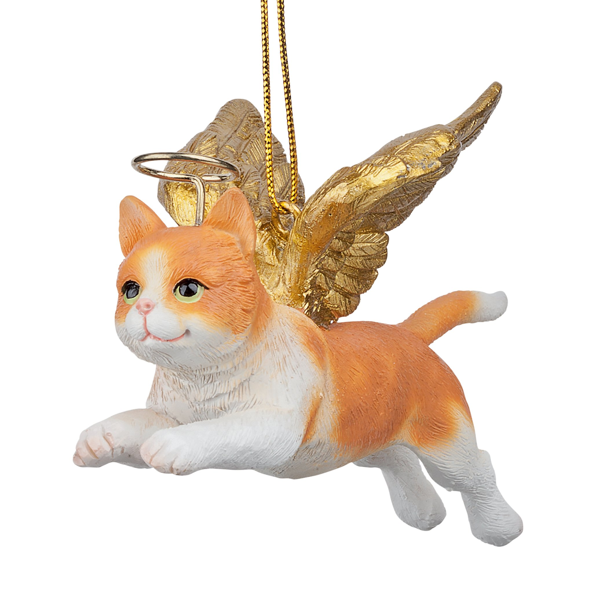 Christmas Tree Ornaments - Honor The Feline Orange Tabby Holiday Angel Cat Ornaments