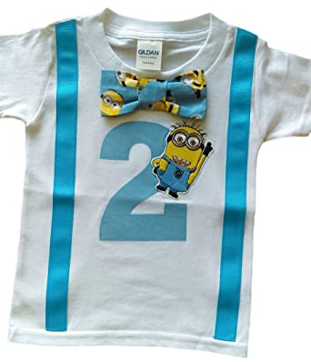 2nd Birthday Shirt Boys Minions Tee White Aqua Yellow 2T