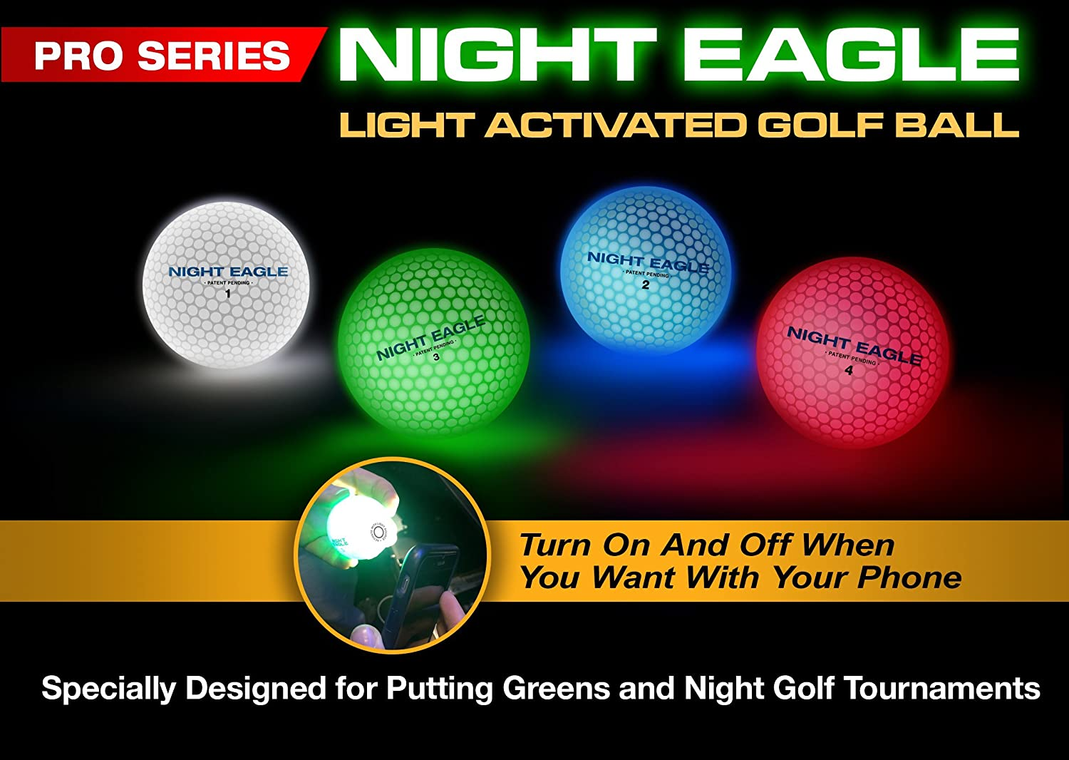 Buy Night Sports Light Activated LED Golf Balls Color Green Turn ...