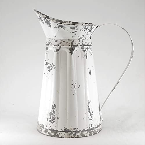 Silvercloud Trading Co. Distressed White Pitcher for Outdoor or Indoor Plants with Handle – 11 Tall – Great for Gardening or Floral Display